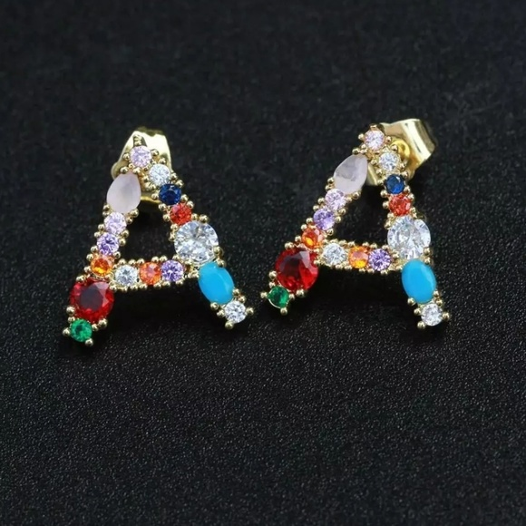 "Jewelry - Initial Stud Earring ""A"""